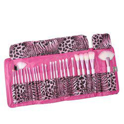 24 Piece Pink Leopard Brush Set -