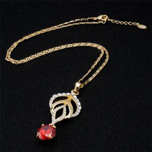 Torch Red Rhinestone Crystals Inlaid Pendant Necklace -