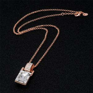 Barrel Shaped Crystal Inlaid Pendant Necklace Earring Set -