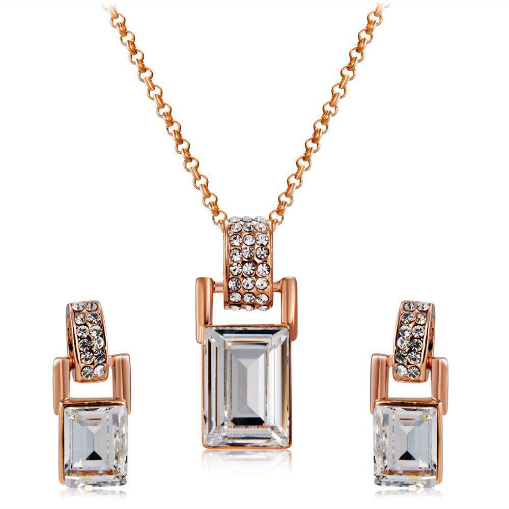 Outfits Barrel Shaped Crystal Inlaid Pendant Necklace Earring Set