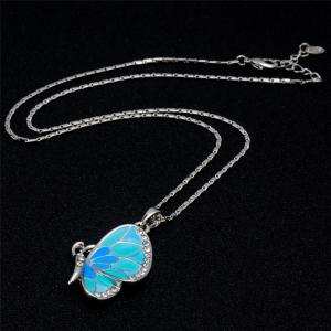 Women's Crystal Blue Butterfly Inlaid Alloy Necklace Earring Set -