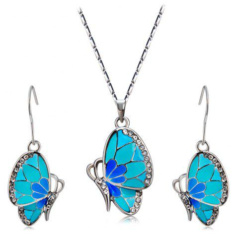 Buy Women's Crystal Blue Butterfly Inlaid Alloy Necklace Earring Set