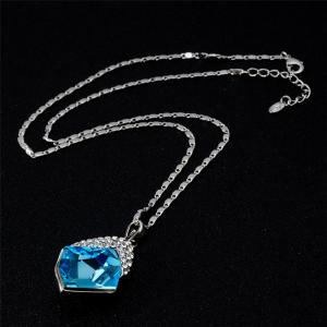 Quadrilateral Sky Blue Crystal Pendant Necklace for Women -