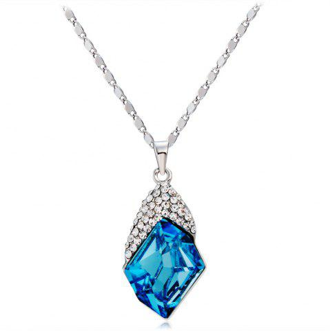 Online Quadrilateral Sky Blue Crystal Pendant Necklace for Women