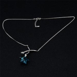 Blue Star Crystal Inlaid Pendant Necklace -