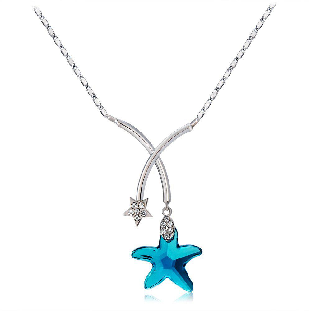 Fancy Blue Star Crystal Inlaid Pendant Necklace