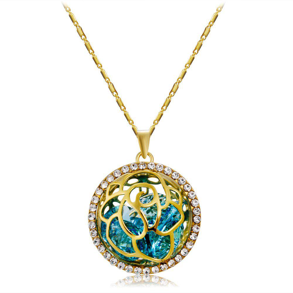 Store Fashionable Rose Pattern Crystal Pendant Necklace