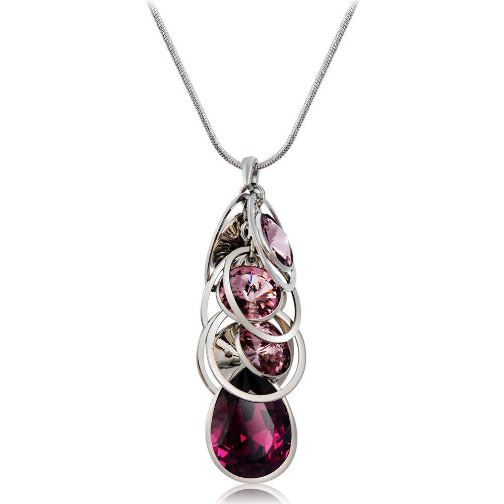Online Creative Circles Purple Crystal Pendant Necklace for Women