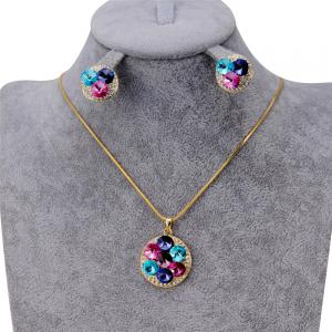 Women'S Fashionable Crystal Inlaid Pendant Necklace Earring Set -