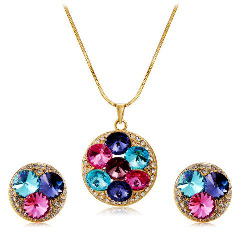 Store Women'S Fashionable Crystal Inlaid Pendant Necklace Earring Set