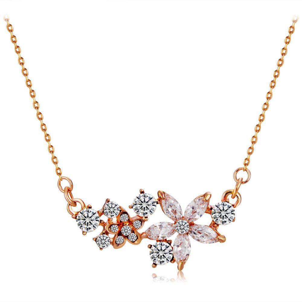Shops Flower Design 18K RGB and Rhinestone Crystal Pendant Necklace for Women