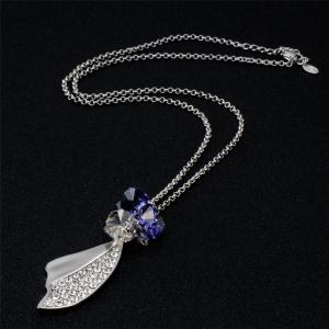 Butterfly Wing Shaped Purple Crystal Rhinestone Inlaid Pendant Necklace -