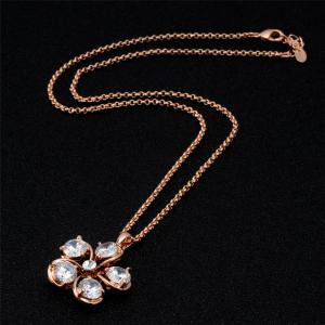 Women's Plum Blossom Rhinestone and 18K RGB Pendant Necklace -