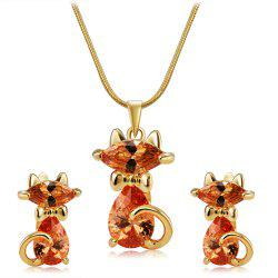 Lovely Cat Crystals Inlaid Pendant Necklace Earring Set -