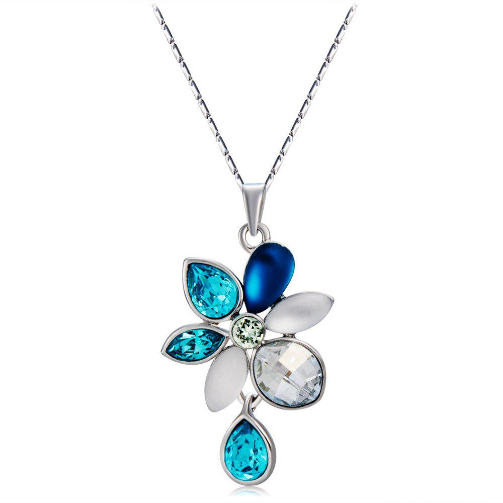 Affordable Water Lotus Hanging Crystals Inlaid Necklace