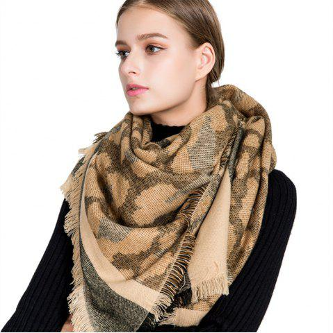 Store M1715 Leopard Camouflage Stripes Fringed Scarf