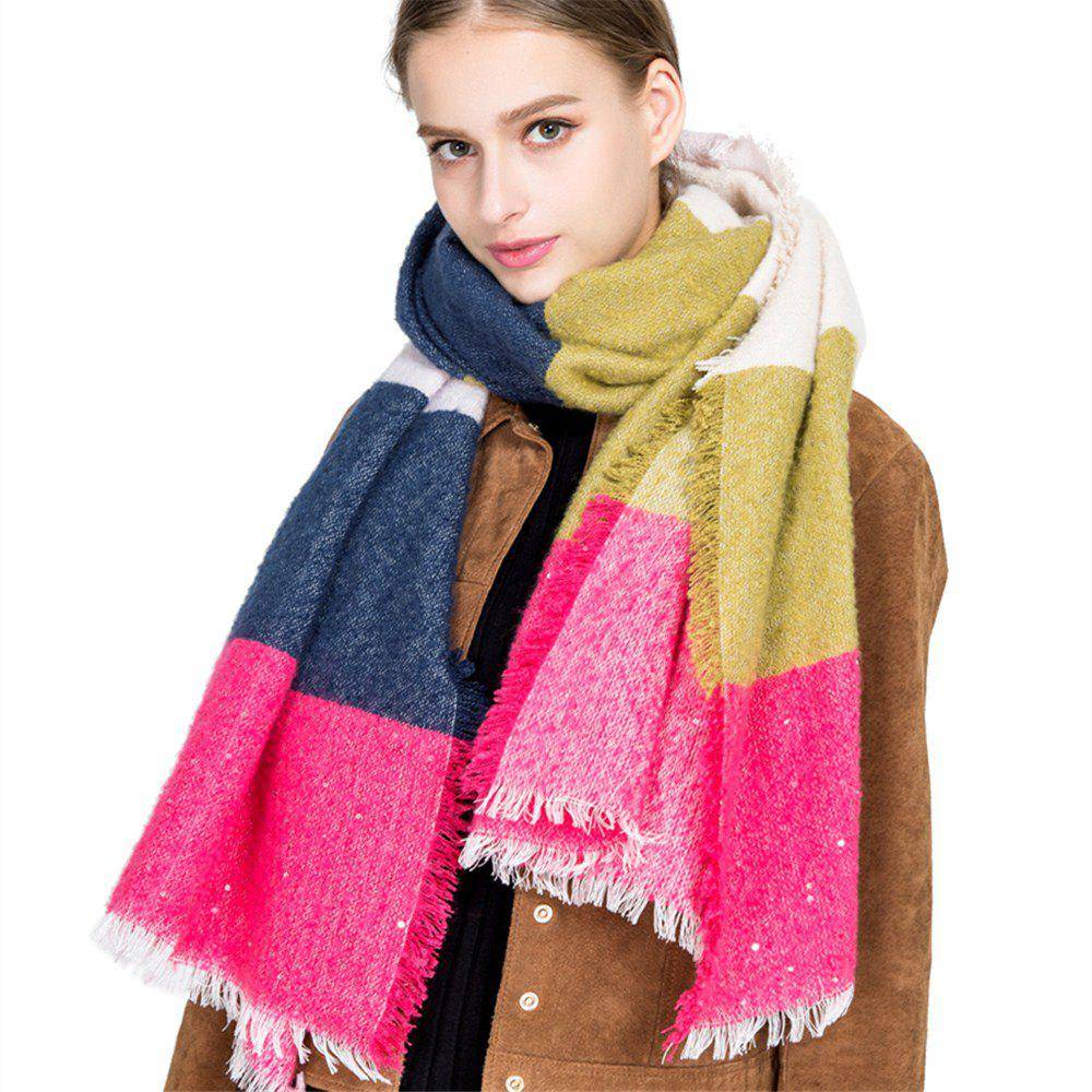 Online M1717 Rainbow Collage Sand Sequins Scarf