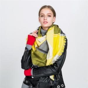 M1722 Color Lattice Square Hollow Fringed Scarf -