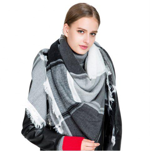 Hot M1722 Color Lattice Square Hollow Fringed Scarf