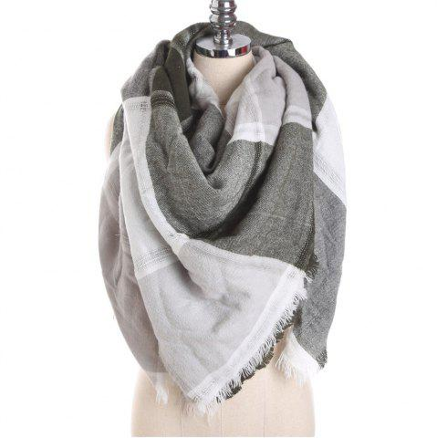 Fancy M1722 Color Lattice Square Hollow Fringed Scarf