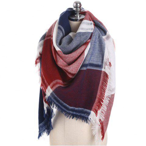 Buy M1722 Color Lattice Square Hollow Fringed Scarf