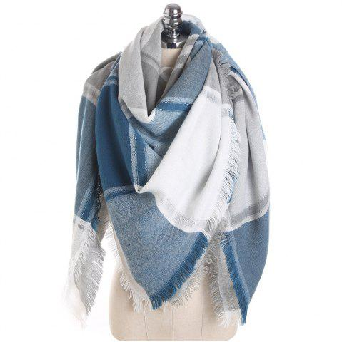Fashion M1722 Color Lattice Square Hollow Fringed Scarf