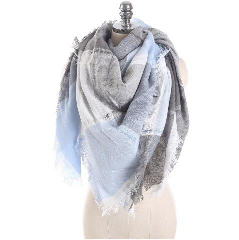 Outfits M1722 Color Lattice Square Hollow Fringed Scarf