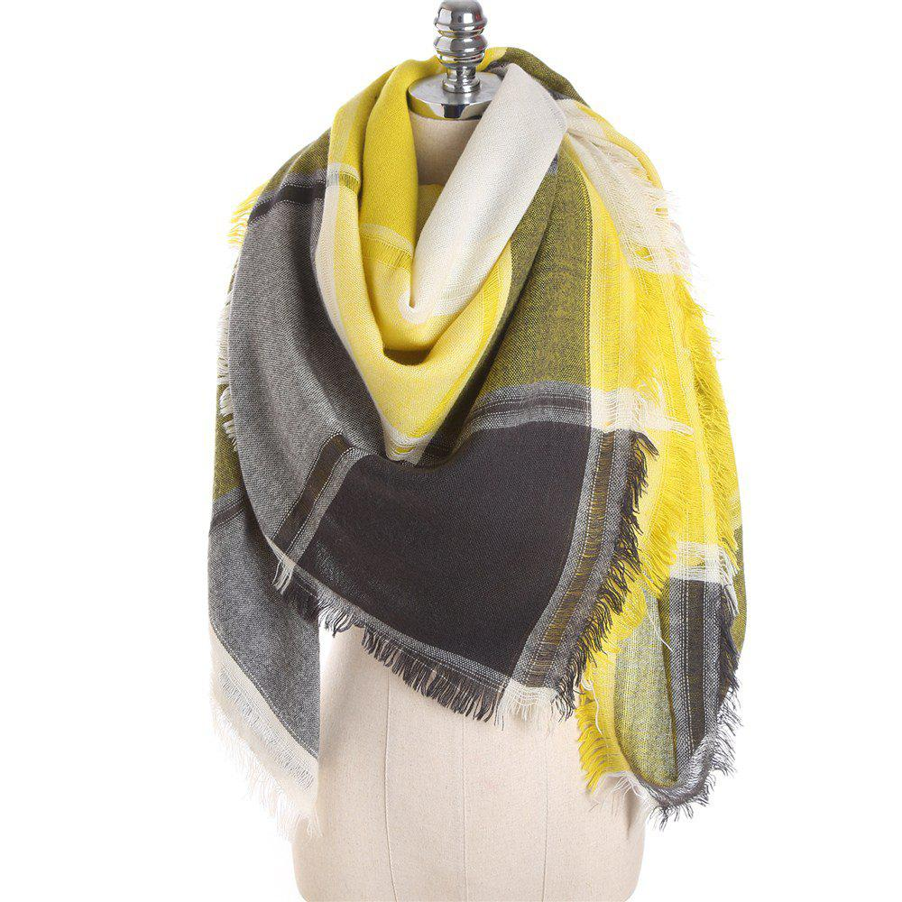Shops M1722 Color Lattice Square Hollow Fringed Scarf