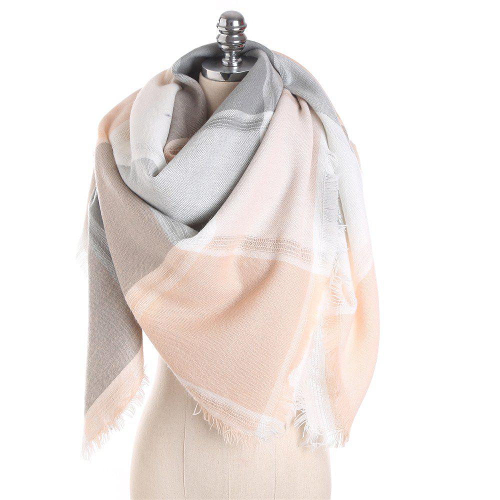 Store M1722 Color Lattice Square Hollow Fringed Scarf