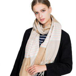 M1728 Stripes Spliced Tassel Scarf -