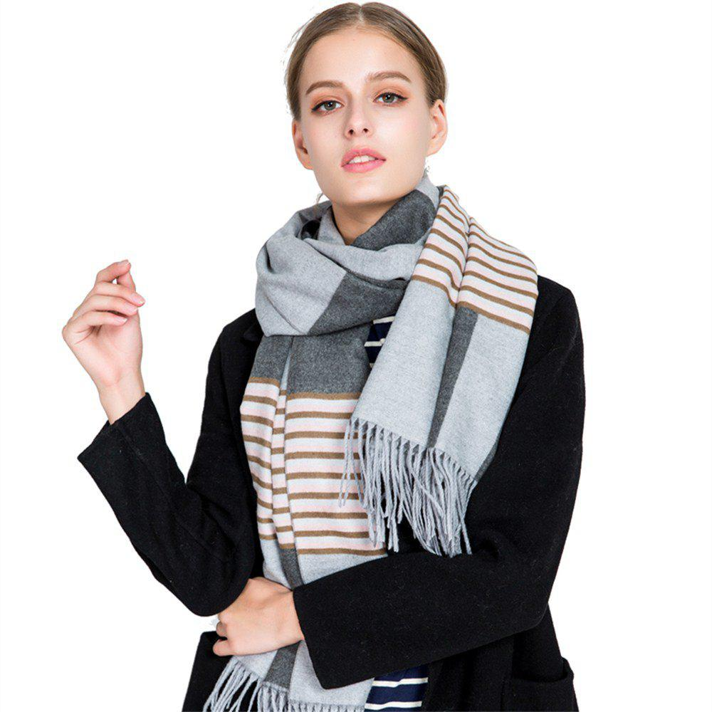 Shop M1728 Stripes Spliced Tassel Scarf