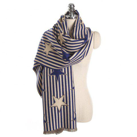 Cheap M1730 Striped Pentagram Jacquard Scarf
