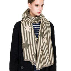 M1730 Striped Pentagram Jacquard Scarf -