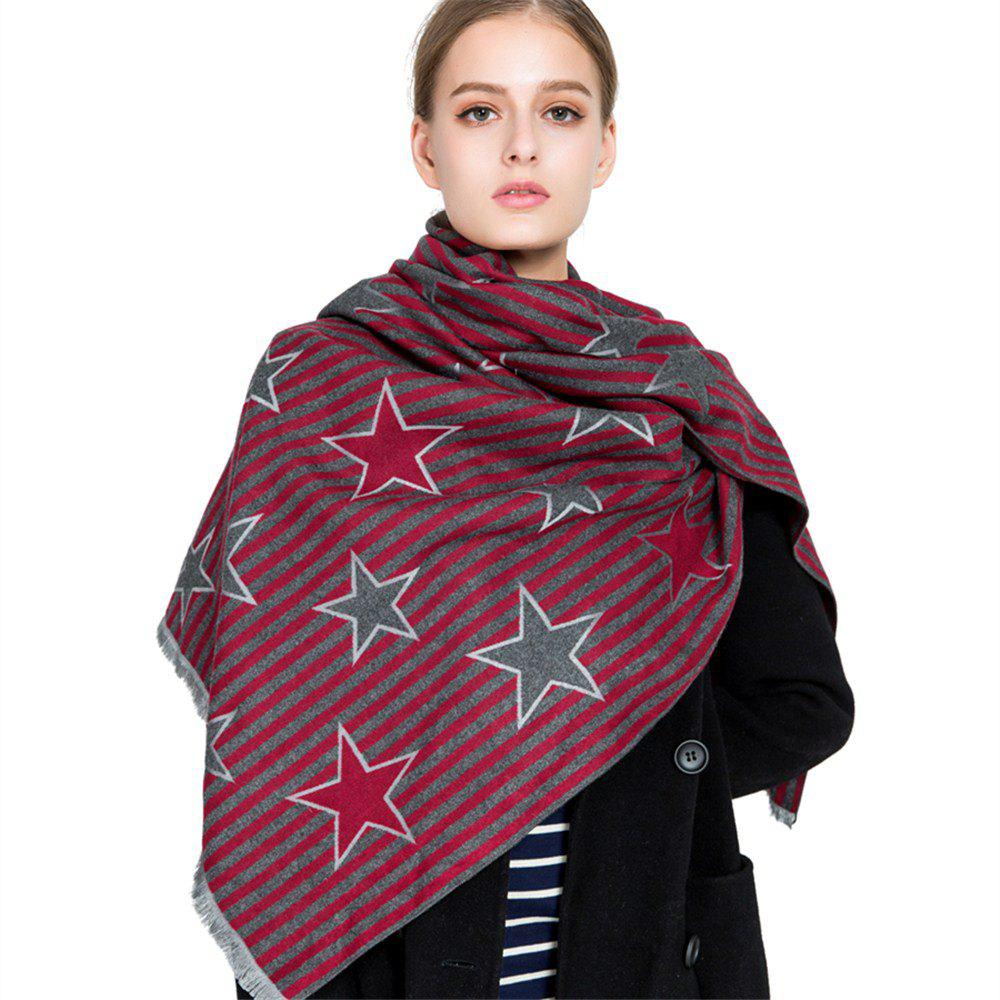 Outfits M1730 Striped Pentagram Jacquard Scarf