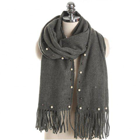 Latest M1732 Pearl Pearl Pure Color Tassel Scarf