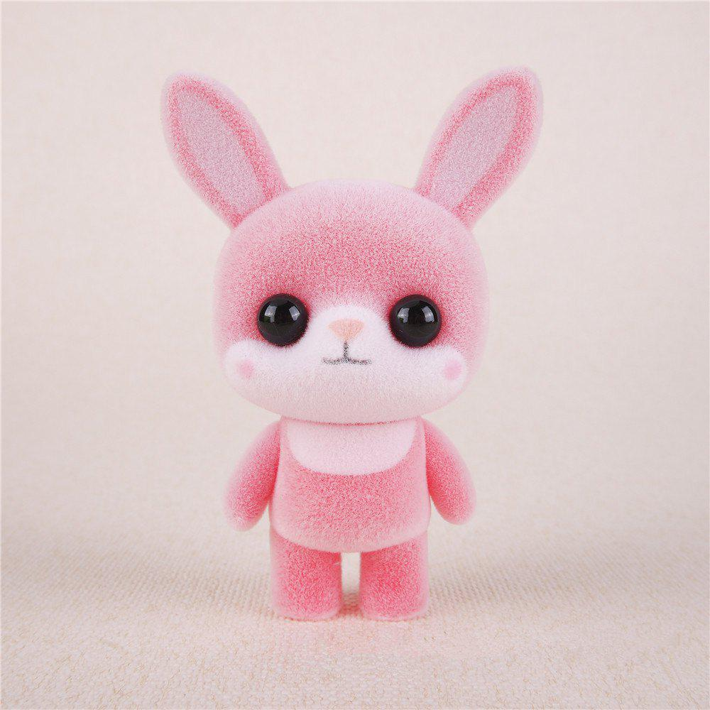 Store Mini Lovely Flocking Pink Rabbit Doll Furnishing Articles Kids Gift