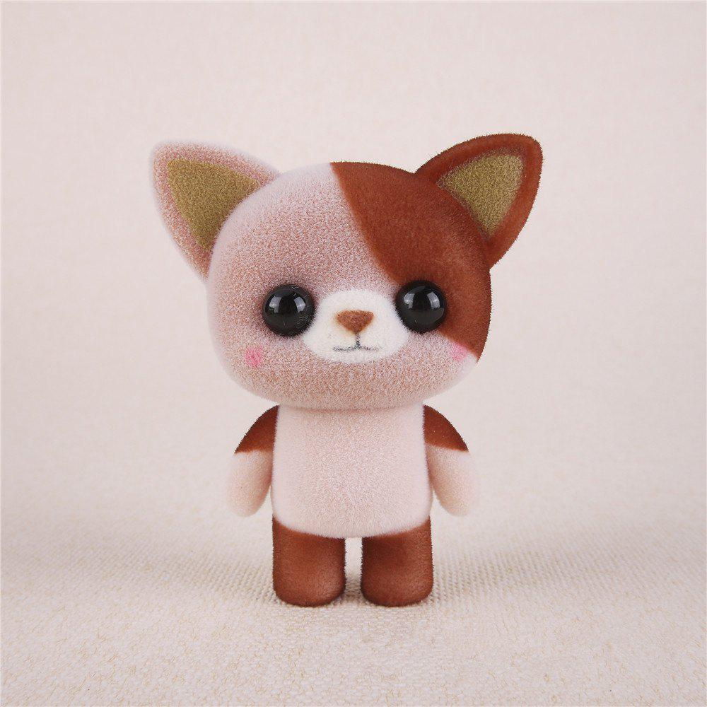 Buy Mini Lovely Flocking Brown Cat Doll Furnishing Articles Kids Gift