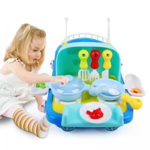 2 In 1 Fishing / Cooking Ship Pretend Play Toy with Light / Music for Kids -