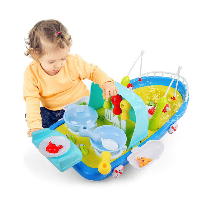 Store 2 In 1 Fishing / Cooking Ship Pretend Play Toy with Light / Music for Kids