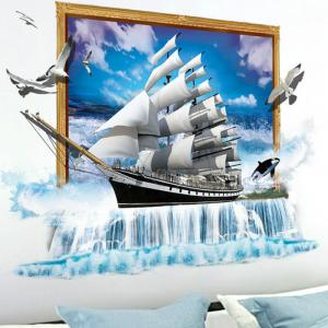 3D Scenery Ocean Sailing Ship Wall Stickers TV/Sofa Background Mural -