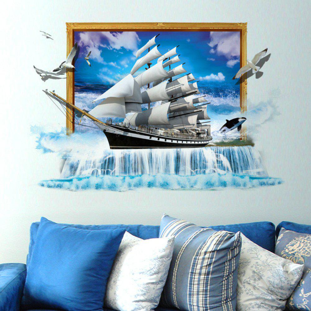 Cheap 3D Scenery Ocean Sailing Ship Wall Stickers TV/Sofa Background Mural
