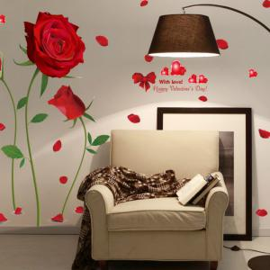 Romantic DIY Red Rose Wall Sticker Mural Decal Home Room Art Decor -