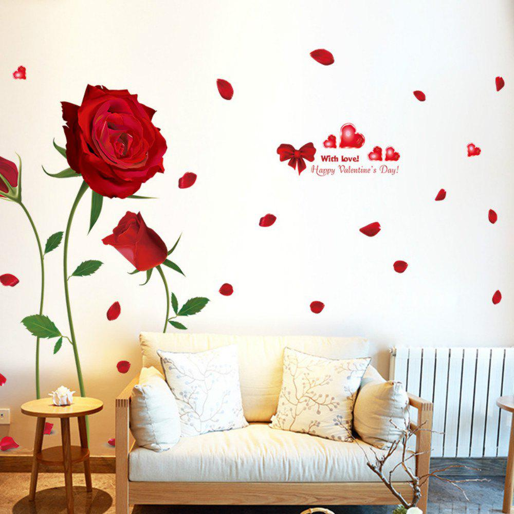 New Romantic DIY Red Rose Wall Sticker Mural Decal Home Room Art Decor
