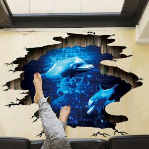 Blue  Dolphin Kids Rooms Living Room Bedroom Stickers Art Home Decor -