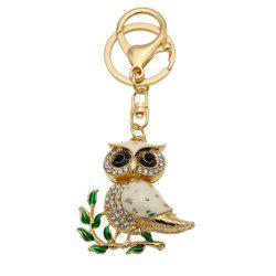 Owl Shape Keychains Women Fashion Rhinestone Bag Pendant Car Key Accessories -