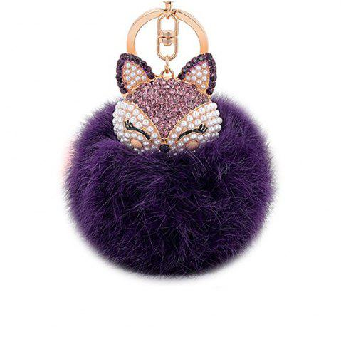 Shop Anple Real Rabbit Fur Ball with Artificial Fox Head Inlay Pearl Rhinestone Key Chain for Womens Bag or Cellphone