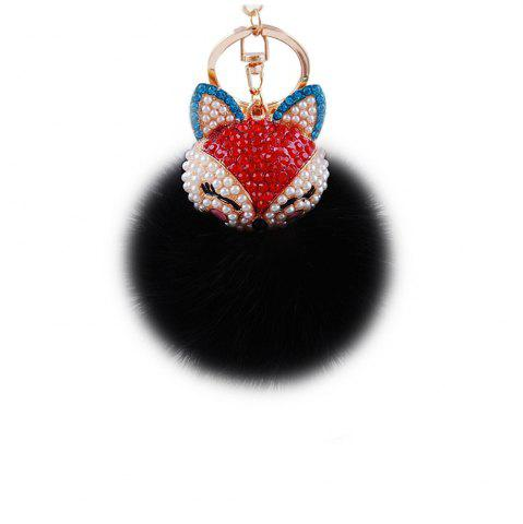 Unique Anple Real Rabbit Fur Ball with Artificial Fox Head Inlay Pearl Rhinestone Key Chain for Womens Bag or Cellphone