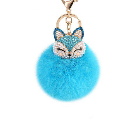 Fashion Anple Real Rabbit Fur Ball with Artificial Fox Head Inlay Pearl Rhinestone Key Chain for Womens Bag or Cellphone