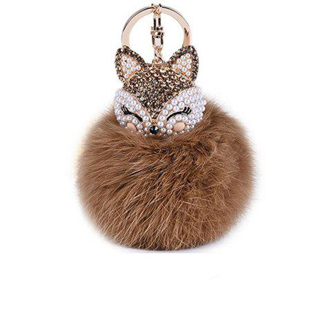 Chic Anple Real Rabbit Fur Ball with Artificial Fox Head Inlay Pearl Rhinestone Key Chain for Womens Bag or Cellphone