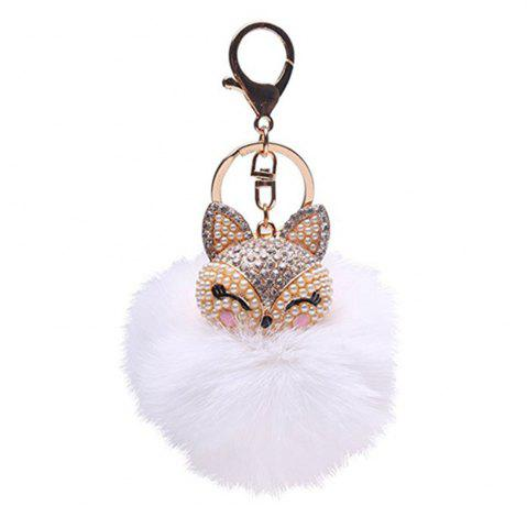 Trendy Anple Real Rabbit Fur Ball with Artificial Fox Head Inlay Pearl Rhinestone Key Chain for Womens Bag or Cellphone